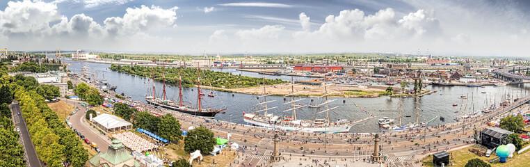 Panoramic view of Szczecin riverside, Poland.