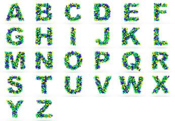 3D cube alphabet colorful font style.