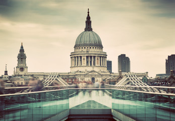 Wall Mural - St Paul's Cathedral dome seen from Millenium Bridge in London, the UK.