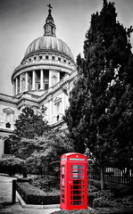 Wall Mural - St Paul's Cathedral dome and red telephone booth. London, the UK.