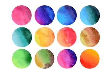 12 разноцветных акварельных кругов