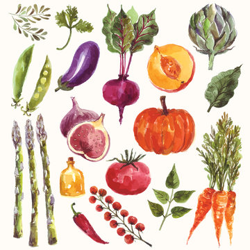 Watercolor vegetables and fruit