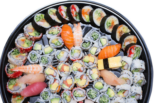 Different varieties  of sushis on a platter