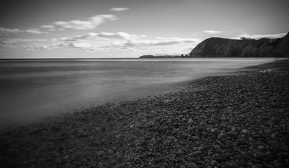 B&W view of South English coastline