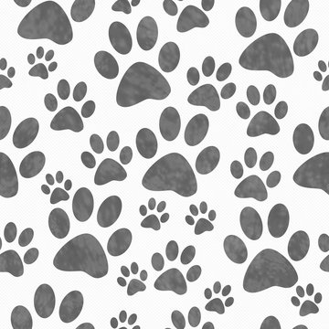 Gray and White Dog Paw Prints Tile Pattern Repeat Background