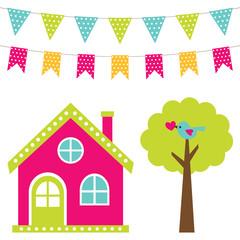 Cute house and tree set