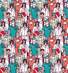 Big group doctors seamless pattern color