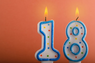 Birthday candles with number eighteen