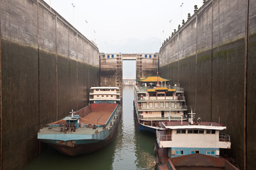 Ships in canal lock