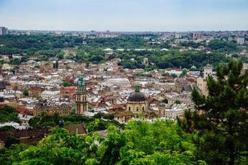 Top view of old city, Lviv, Ukraine.