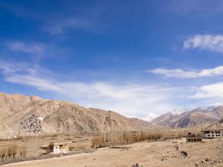 Village in mountain ranges, Ladakh, India