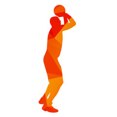 Abstract orange basketball player