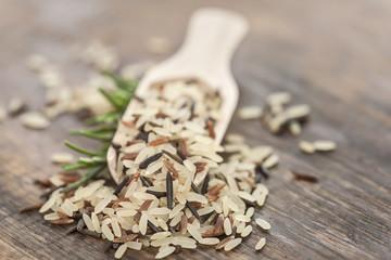 Verschiedene Reissorten in Holzschaufel auf rustikalem Holzbrett