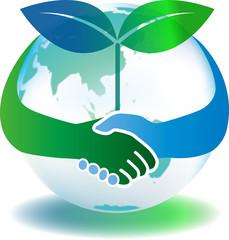 手をつなぐ地球 と双葉
