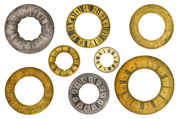 Eight vintage clock face rings