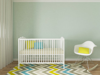 coloful boy nursery interior design, 3d image