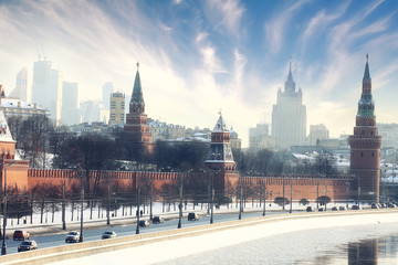 Poster Moscow Moscow Kremlin Cathedral winter landscape embankment