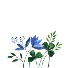 Watercolor doodle with blue flowers and herbs