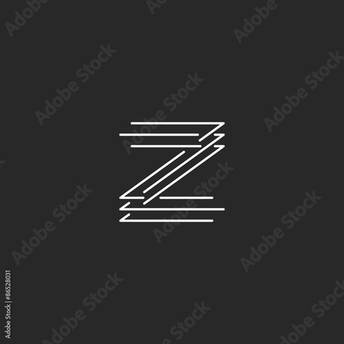 Letter Z Logo Modern Monogram Black And White Thin Line Mockup