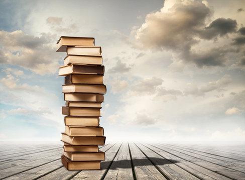 Column of books