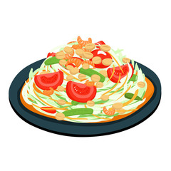 spicy popular papaya Thai salad vector