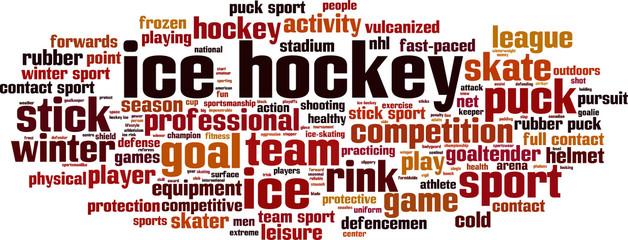 Ice hockey word cloud concept. Vector illustration