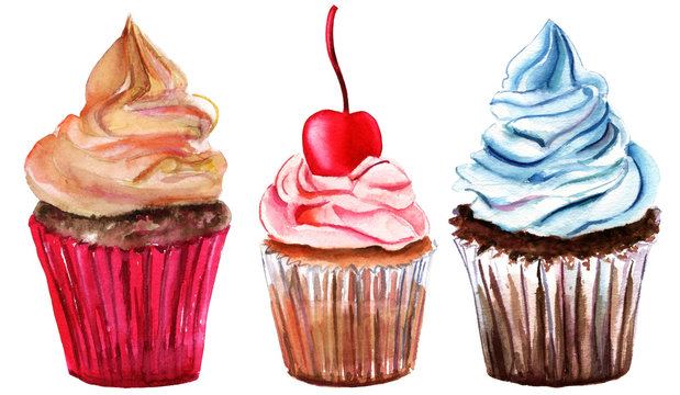 A set of watercolor cupcakes on white background