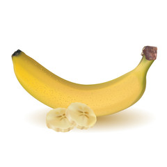 ripe yellow banana and sliced bananas isolated on white background