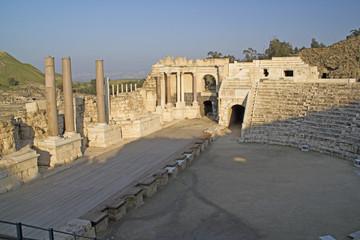 Ancient pillars of ruined roman Amphitheatre  in Beit Shean (Scythopoli