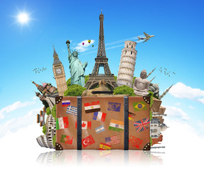 Fototapete - illustration of a suitcase full of famous monument