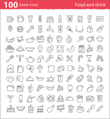 One hundred thin line food and drink icons