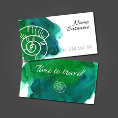 Business card with seashell on watercolor stain