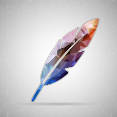 Abstract Creative concept vector icon of goose quill for Web and