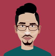 Flat vector character. Vector avatar. Vector portrait