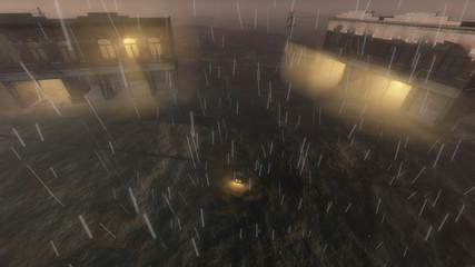 Vehicle in Town Center on Rainy Night