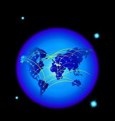 World trade internet web network connections logo vector