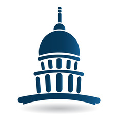 Capitol building blue illustration icon vector logo design