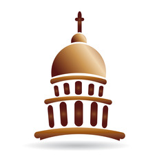Capitol building gold church logo design