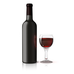 Blank black realistic bottle for red wine with glass isolated on