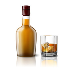 Blank realistic whiskey bottle with glass, isolated on white