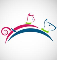 Cat and dog jumping logo