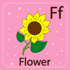 English letters F and flower