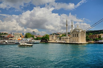 Ortakoy mosque and Bosphorus bridge, Istanbul, Turkey- Buyuk Mecidiye Cami