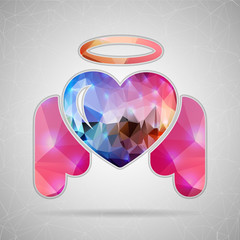 Abstract Creative concept vector icon of angel heart for Web and