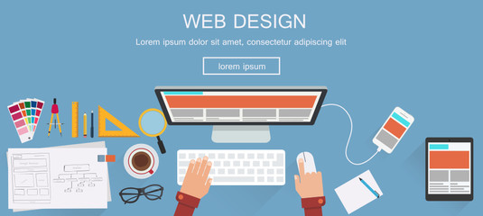 Flat designed banners for web design. Vector Wall mural