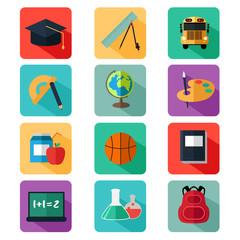 Flat Design Education Icons