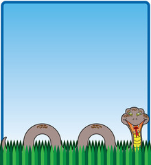 Happy, smiling cartoon snake in the grass