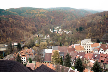 Pretty view on the beautiful small town in forest in Czech Republic