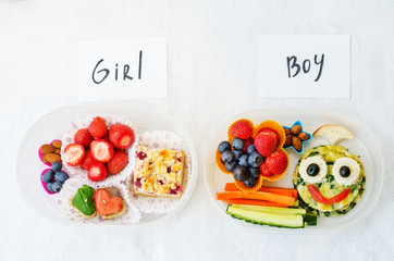 school lunch boxes for girl and boy with food in the form of fun