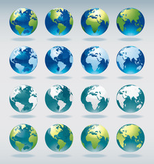Set of vector world globe icons